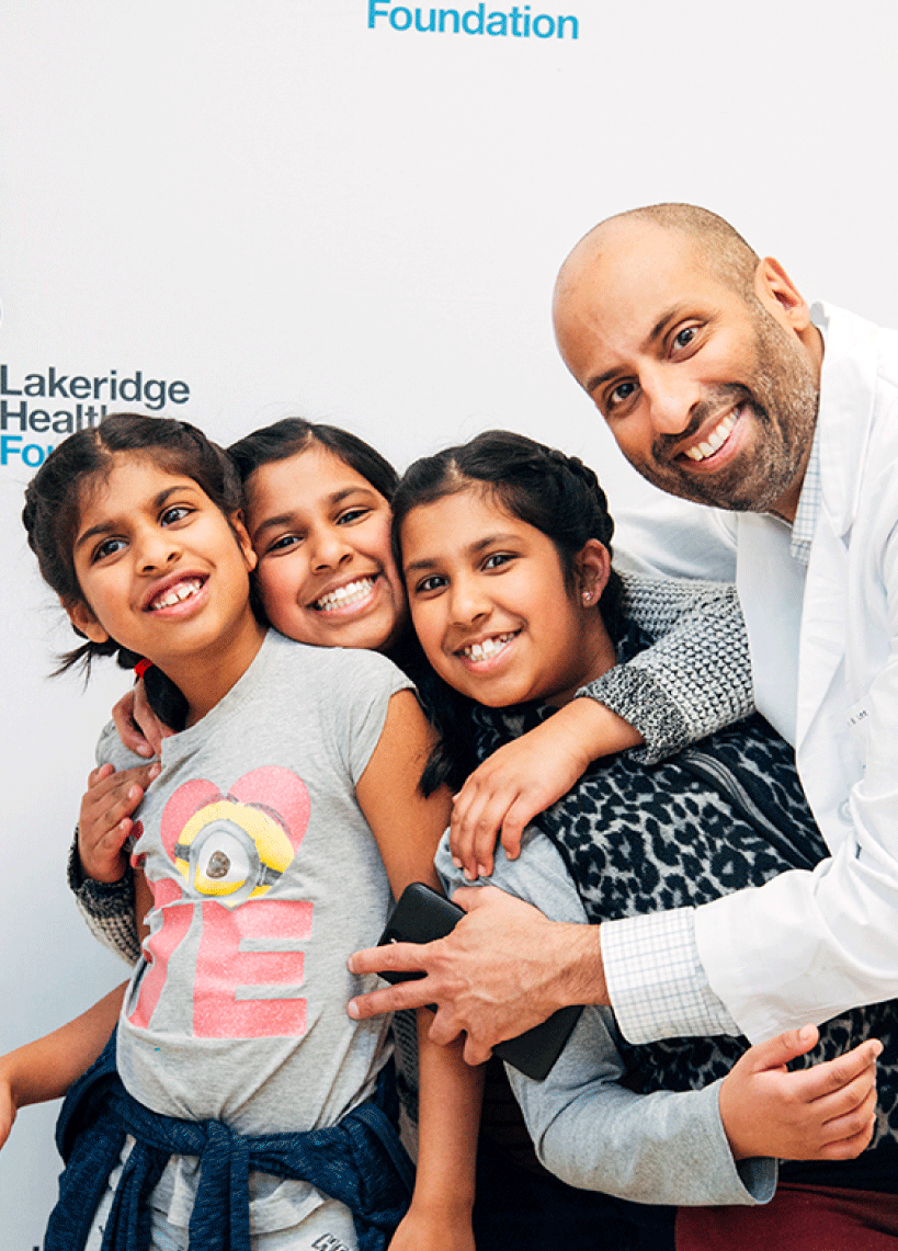 Dr. Athaide and his family enjoy the high energy at NightShift, a signature fundraising event for Lakeridge Health Foundation